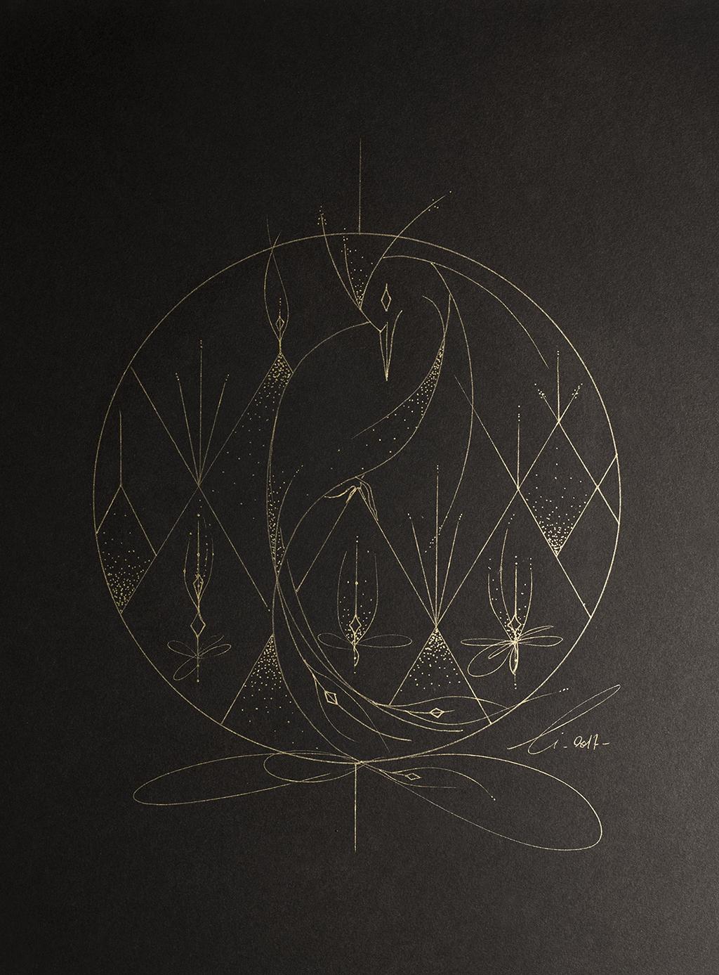 L'oiseau graphique doré sur papier noir