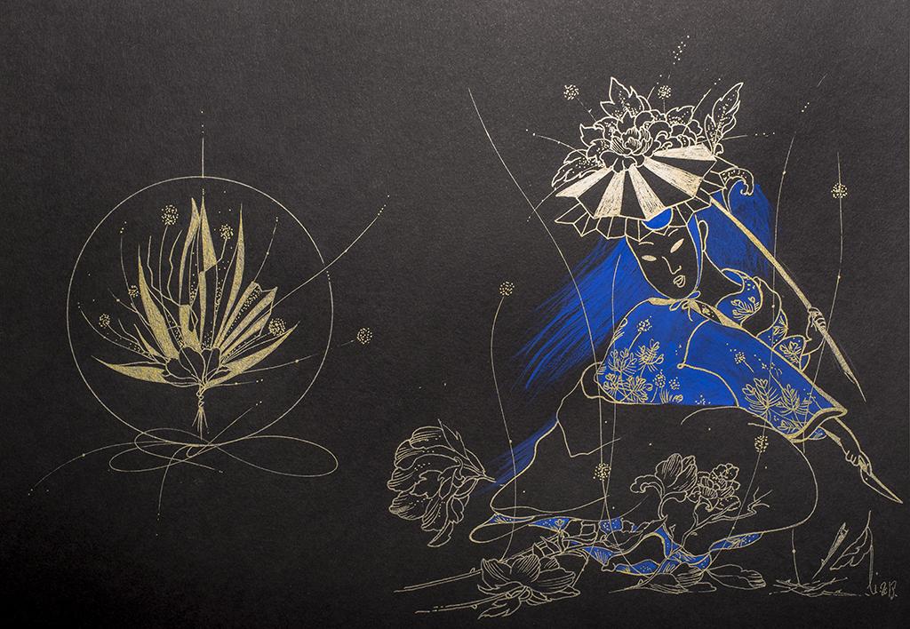 Dessin original représentant l'art de la composition florale - Ikebana, Arts traditionnels Japonais accompagné d'une geisha.