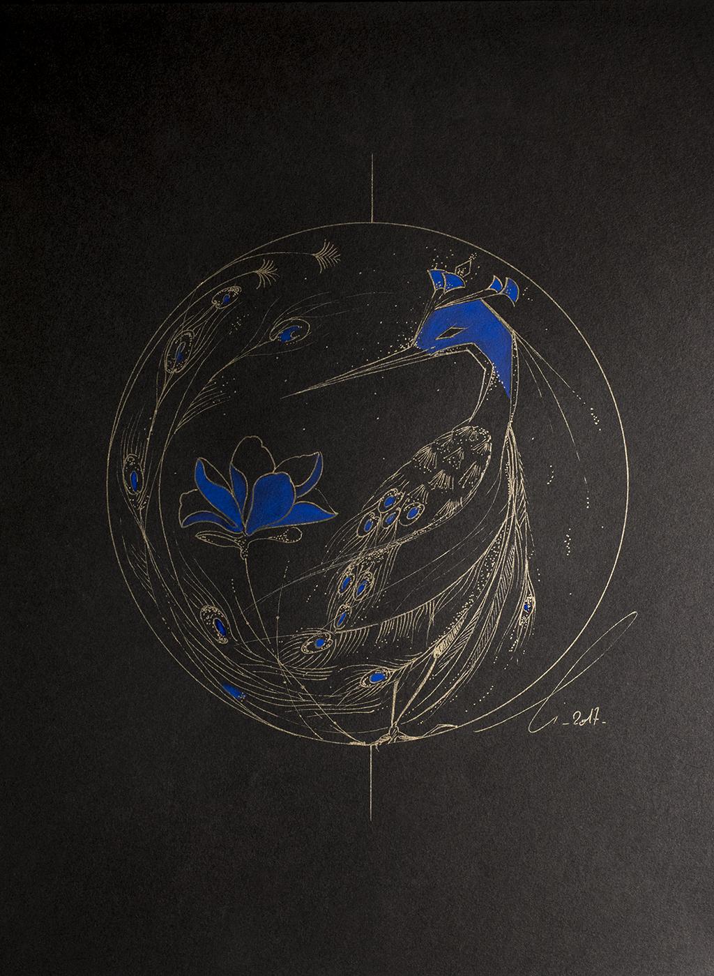 Le paon et le lotus bleu, dessin de l'oiseau en or et bleu profond aux influences japonaises