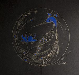 Le paon et le lotus bleu