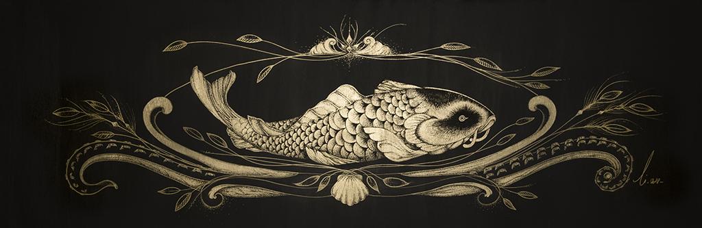 Le cabinet de curiosité - Tableau d'un poisson et ornements au style japonais, réalisation en noir et or