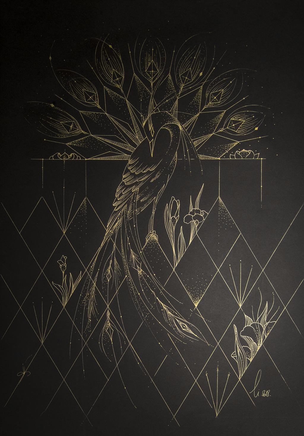 Jeux graphiques – Plumes, Fleurs & Géométrie, oiseau et végétaux dessinés en or avec des lignes brisées ou fuyantes
