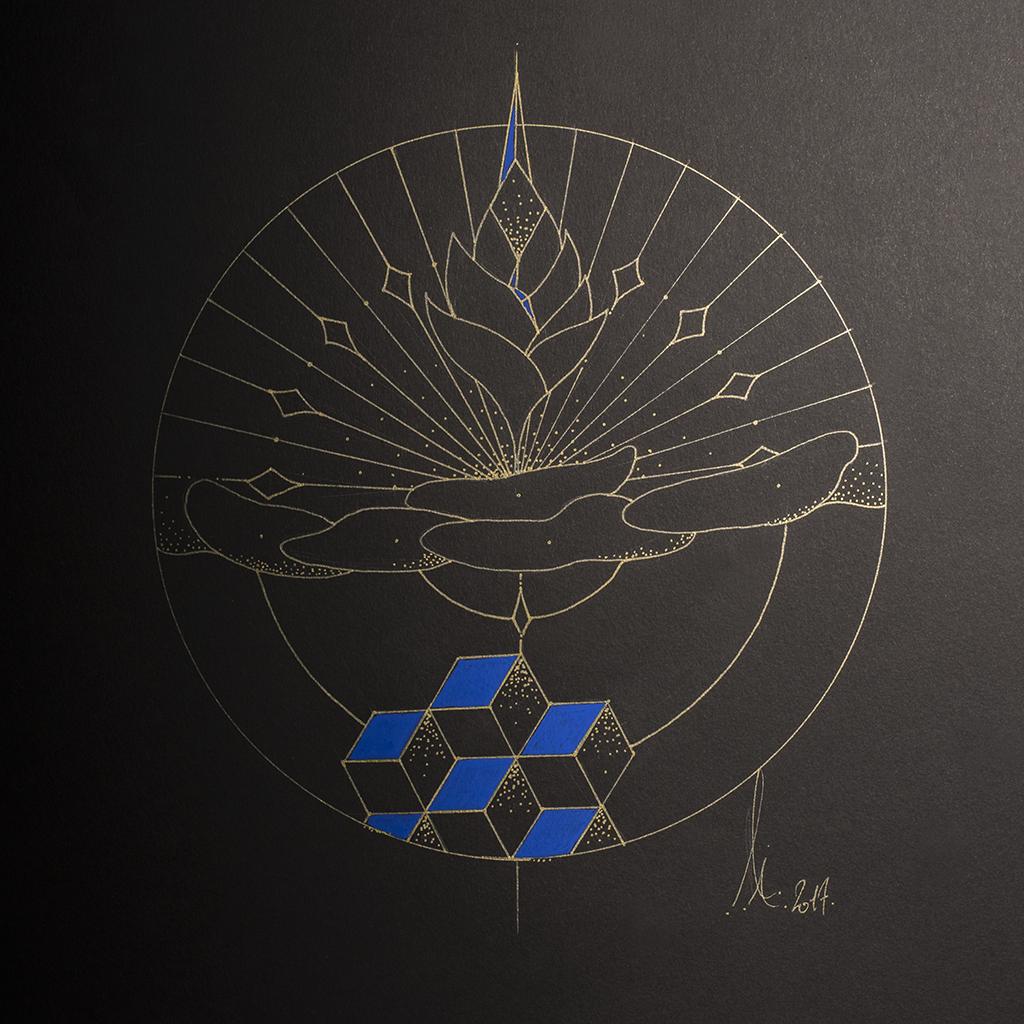 Le rayonnement du lotus, symbole d'espoir et de bienveillance. Lignes dorées sur support papier noir avec des touches de bleu faïence.
