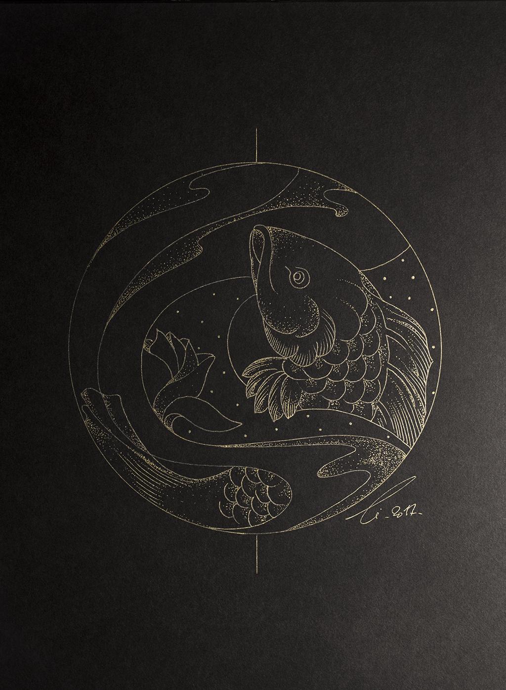 La carpe du fleuve Jaune, légende chinoise, dessin d'une carpe remontant le fleuve doré