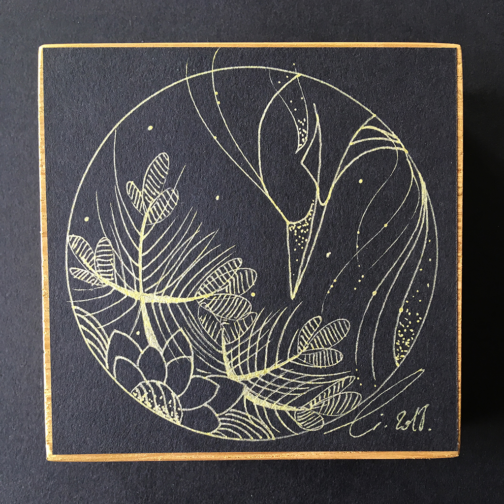 Bec et pins, création artistique d'un héron cendré représenté au milieu des pins majestueux du Japon
