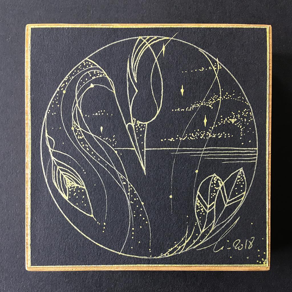 la patience du Héron, illustration de l'échassier sous un ciel étoilé